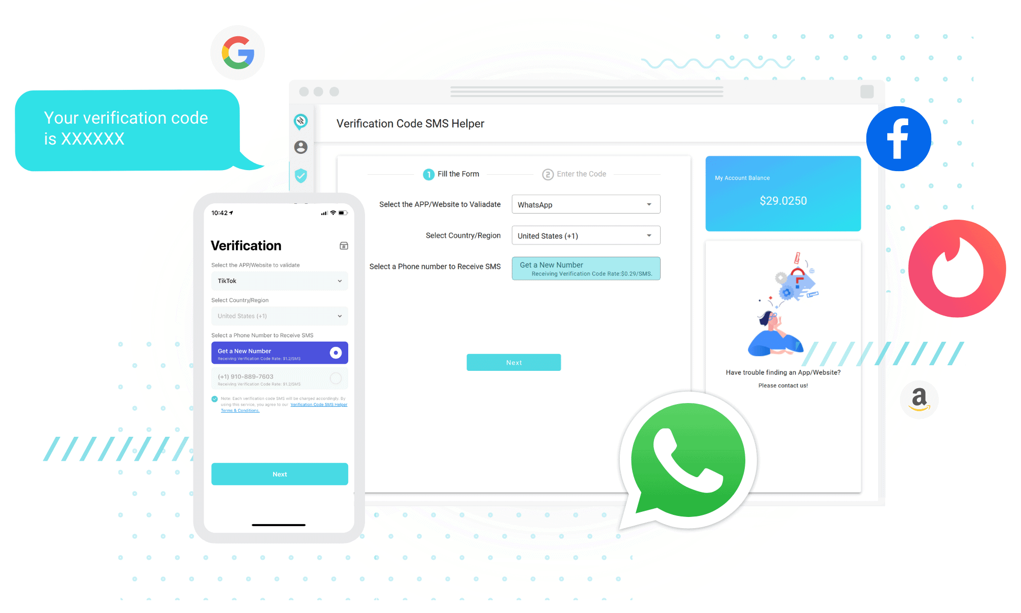 receive verification code sms online and on mobile app