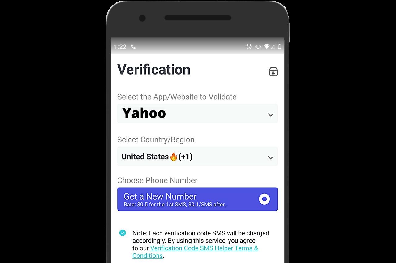 Yahoo SMS verification on PingMe