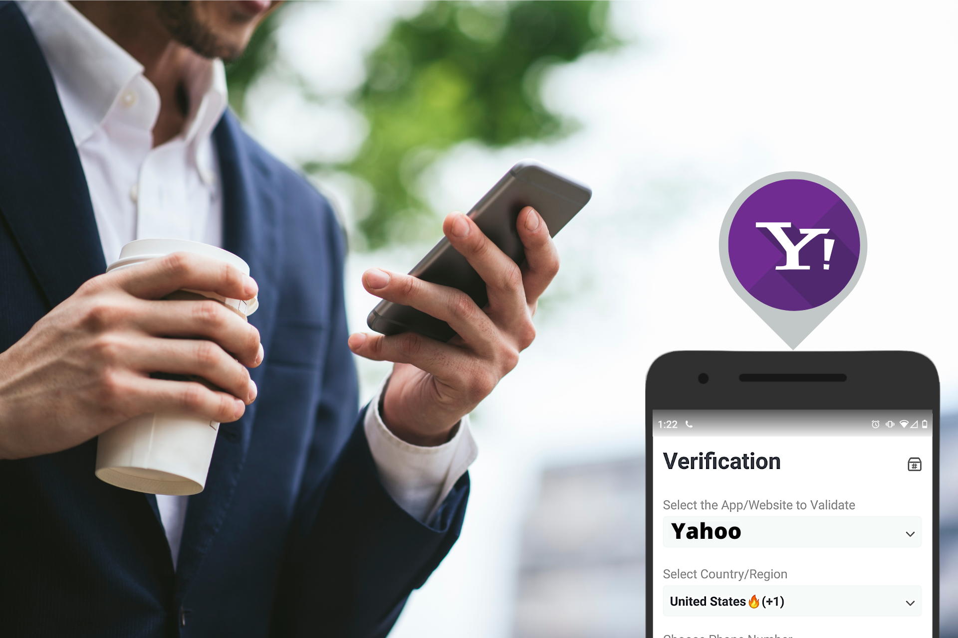 Yahoo SMS verification header