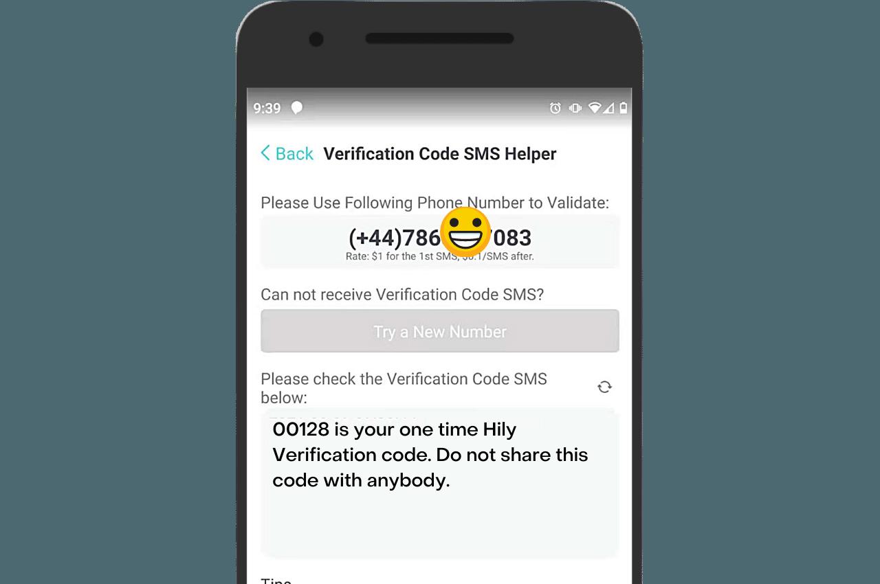 PingMe verification helper Hily SMS