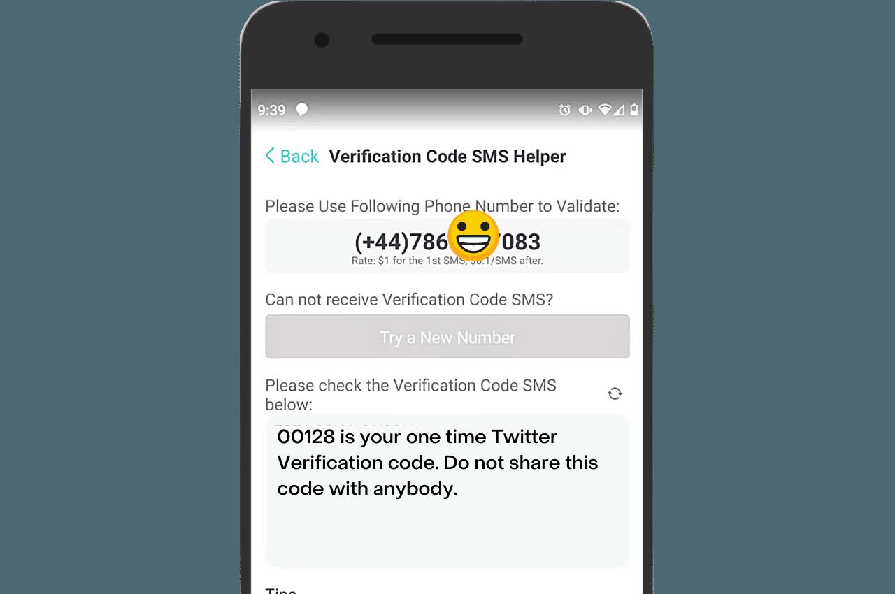 PingMe verification helper Twitter SMS